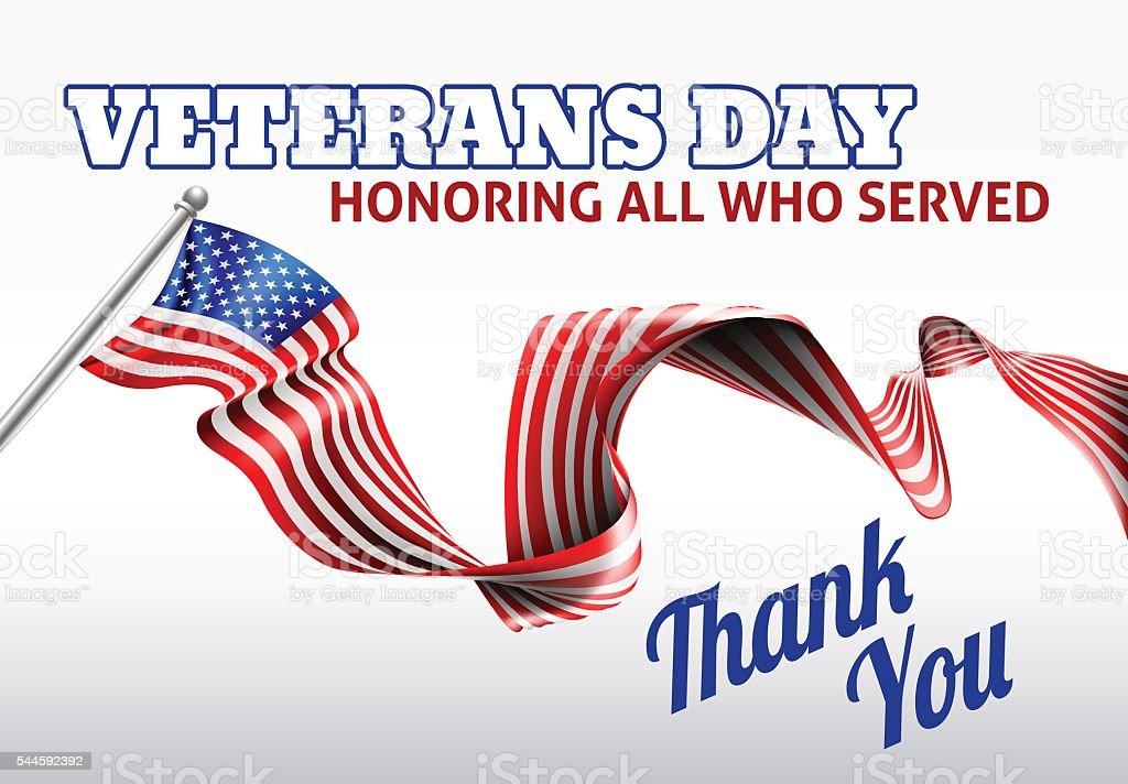 Veterans Day American Flag Design vector art illustration