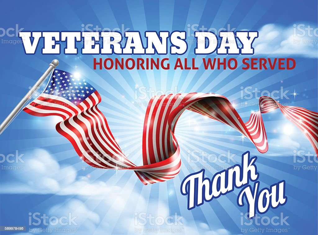 Veterans Day American Flag Sky vector art illustration