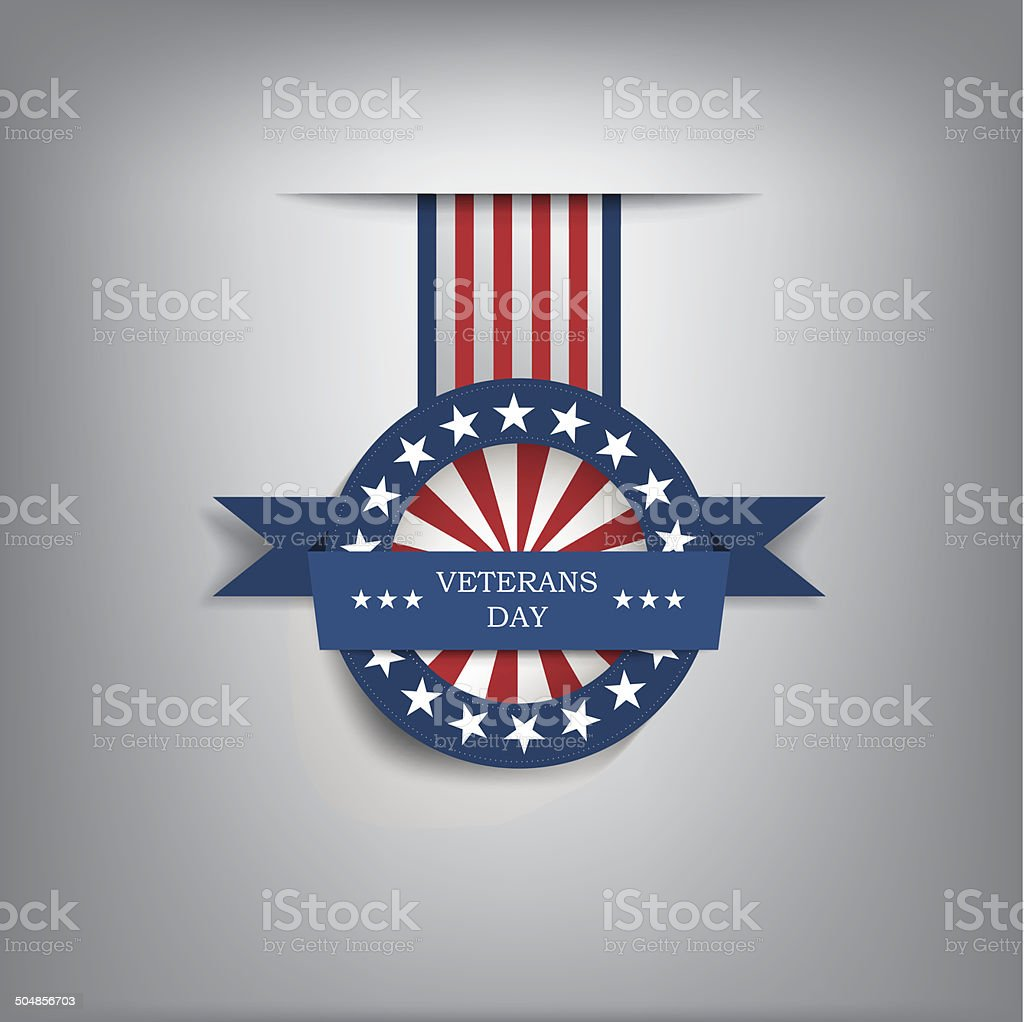 Veterans day badge vector art illustration