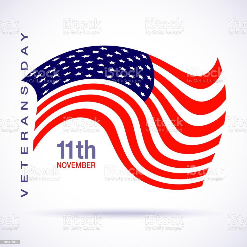 Veterans day flag design logo emblem on white background. vector art illustration