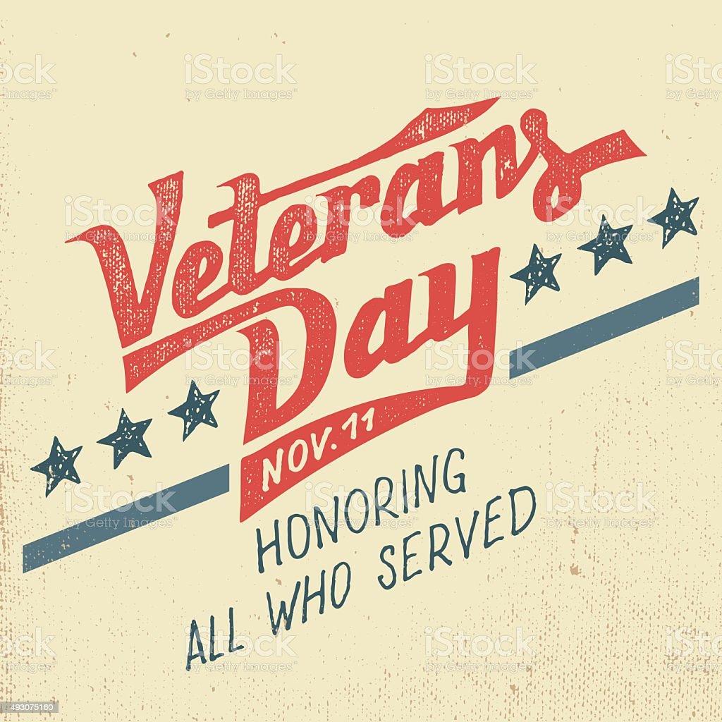 Veterans day holiday typographic design vector art illustration