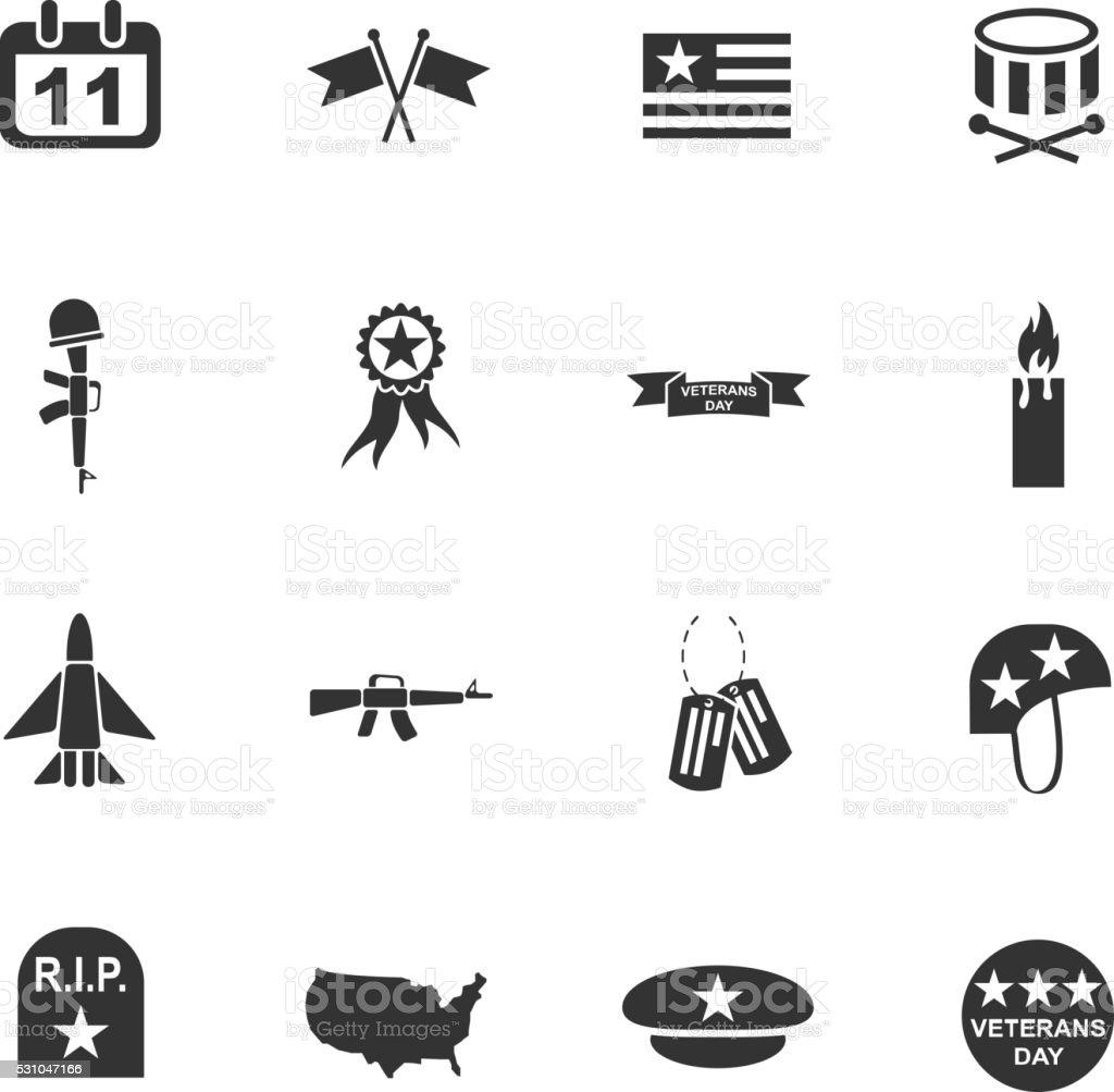 veterans day icon set vector art illustration