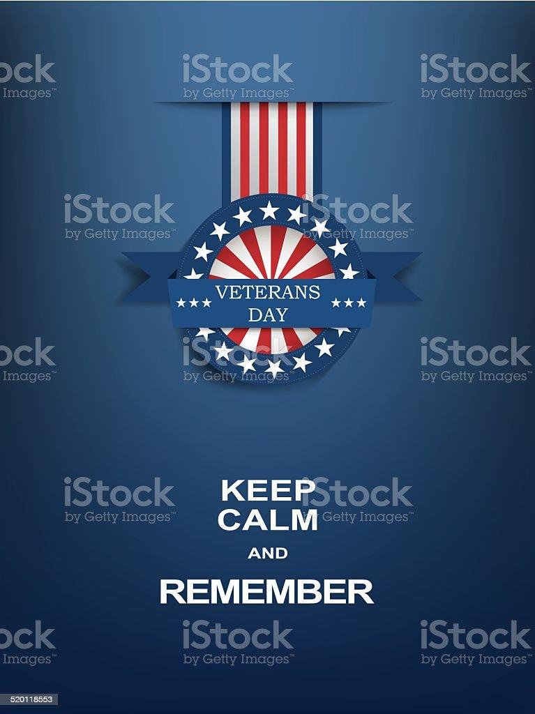 Veterans day motivational poster with medal badge vector art illustration