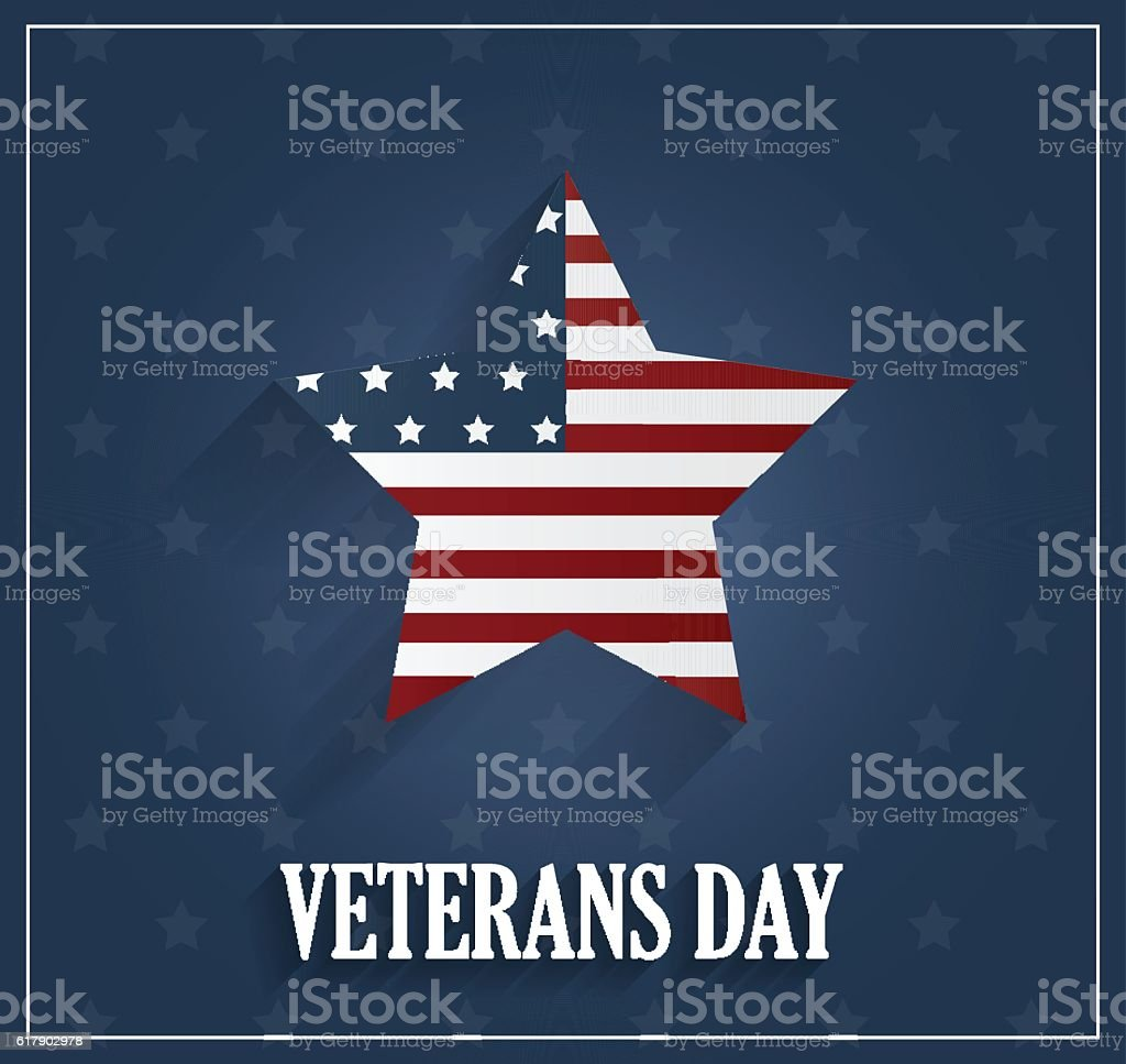Veterans Day poster on blue background with star vector art illustration