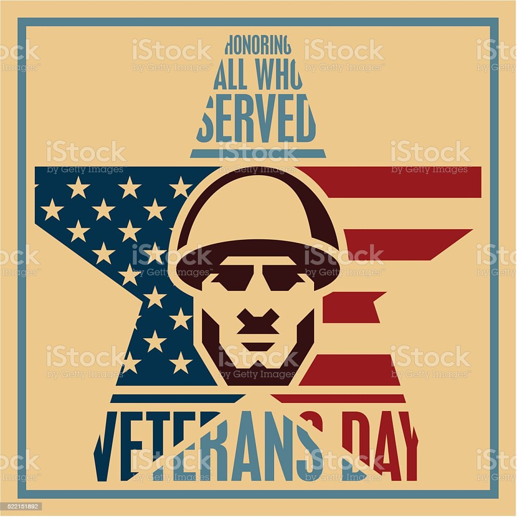 Veterans day poster, Soldier icon vector art illustration
