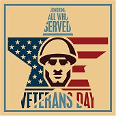 Veterans day poster, Soldier icon