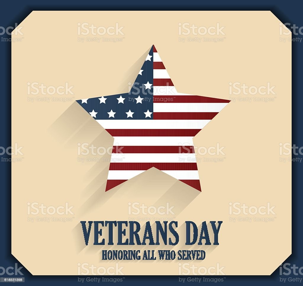 Veterans Day poster with star. Honoring all who served vector art illustration