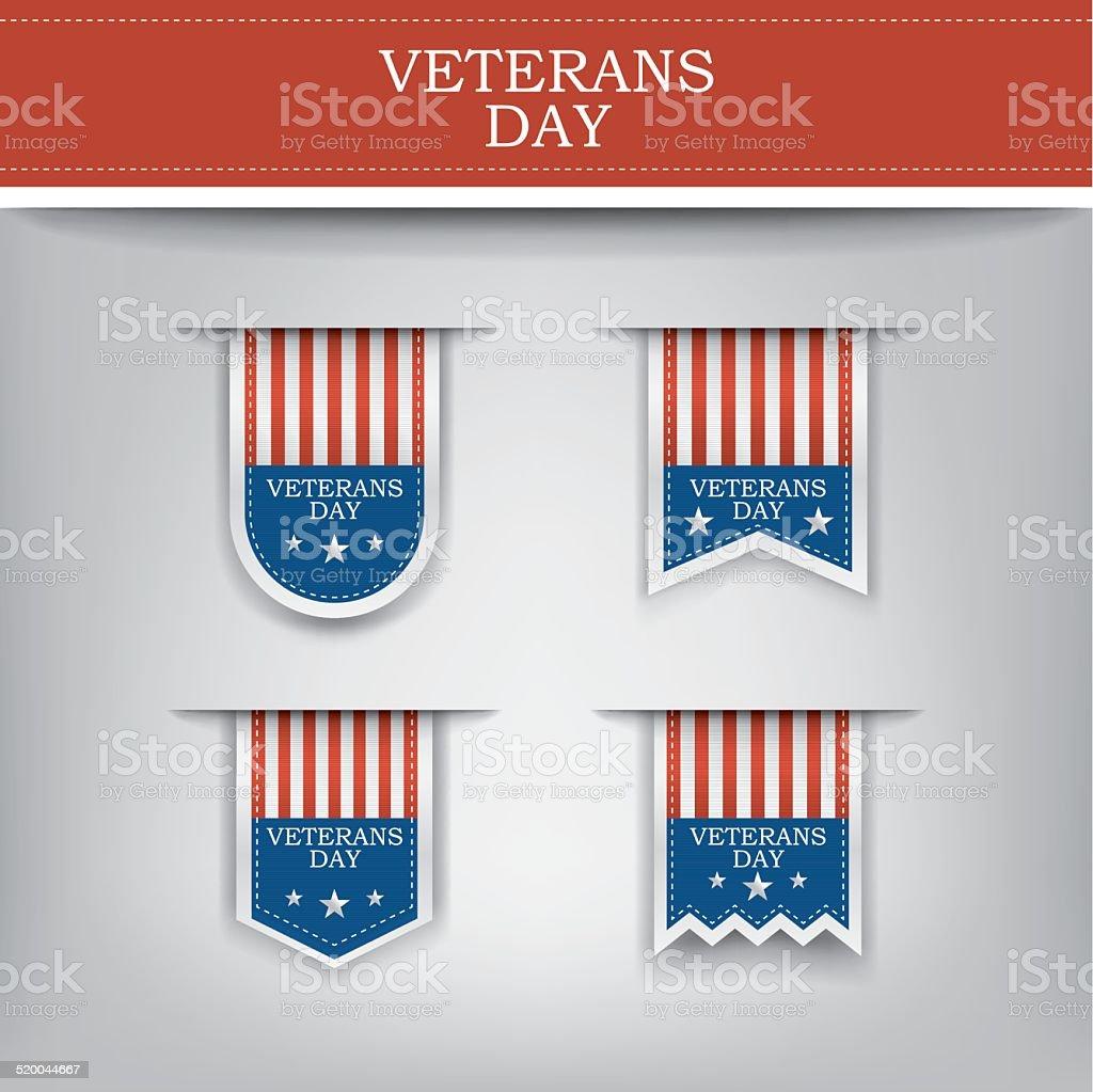 Veterans day ribbon elements for websites. vector art illustration