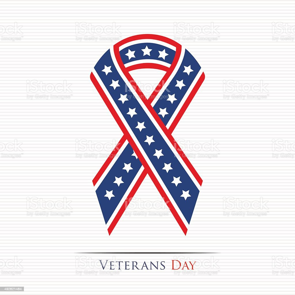 Veterans Day ribbon vector art illustration