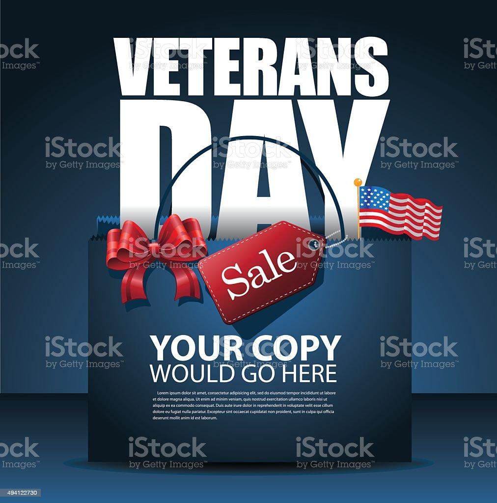 Veterans Day Sale shopping bag Background vector art illustration