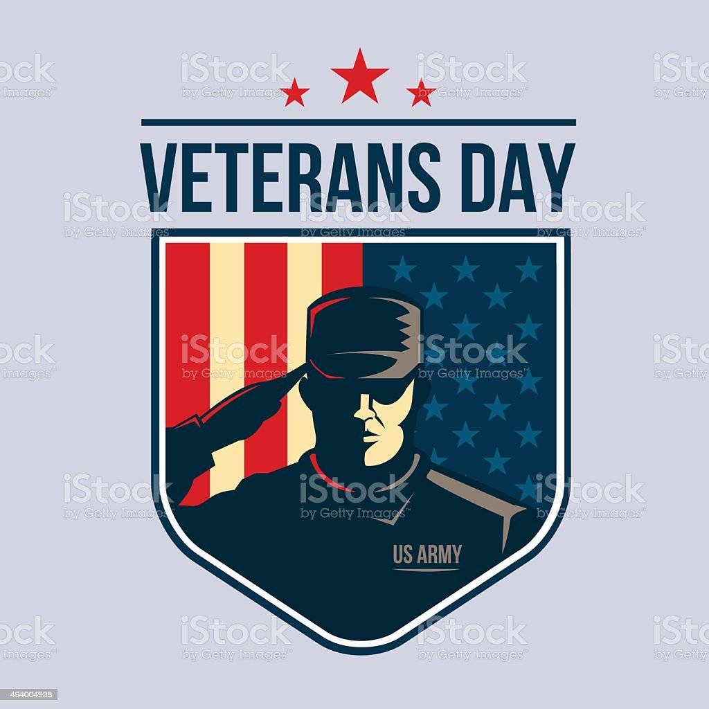 Veterans Day - Shield with Soldier saluting against USA Flag. vector art illustration