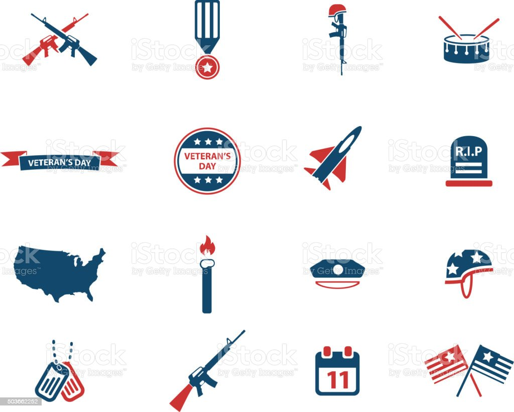 Veterans day simply icons vector art illustration