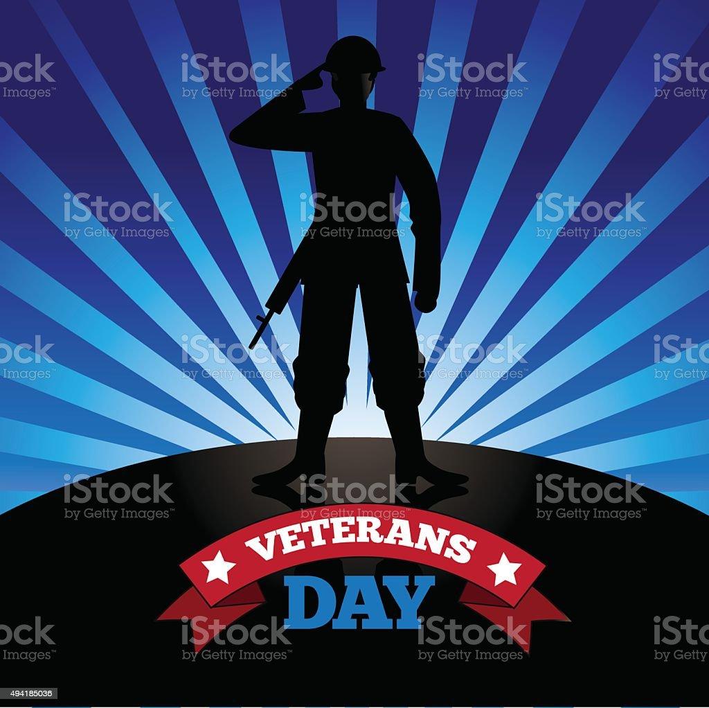 Veterans Day soldier burst design vector art illustration