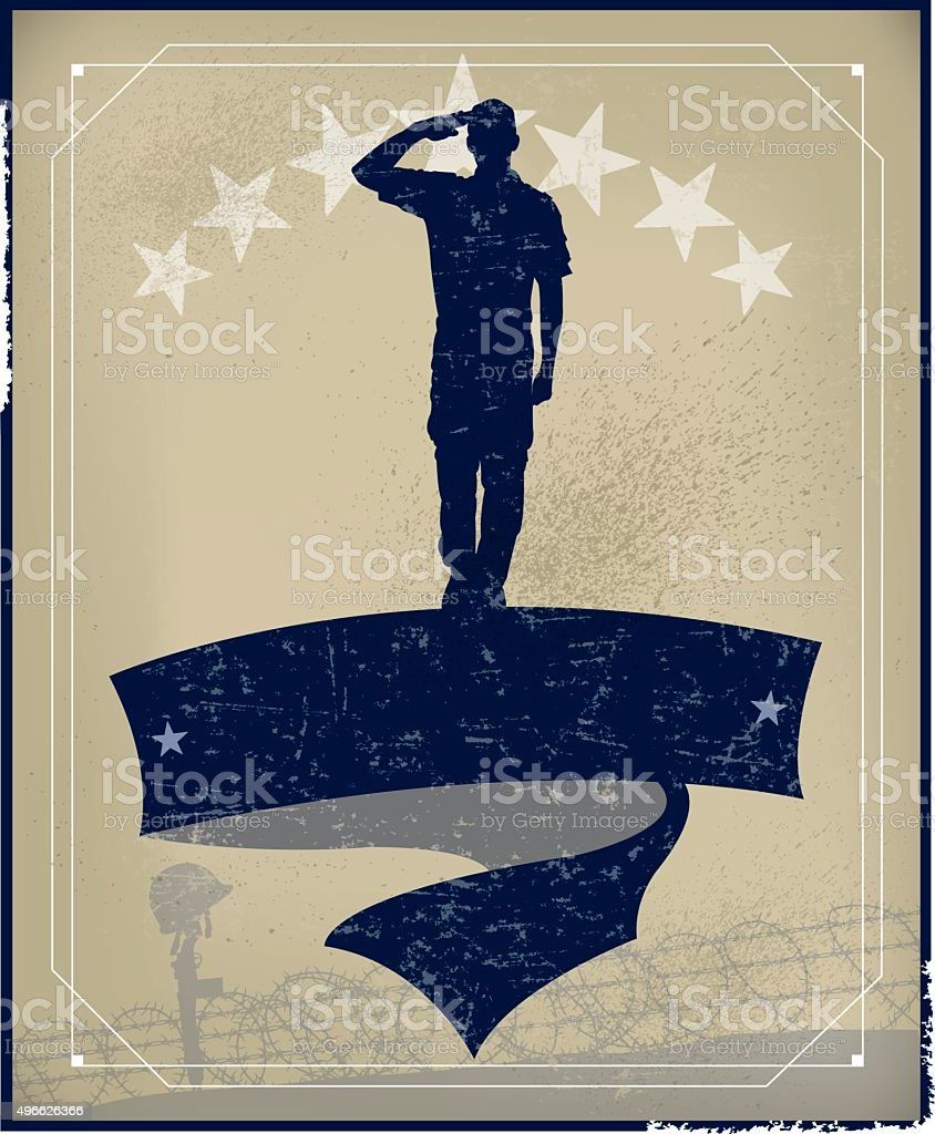 Veteran's Day Soldier Salute Holiday Background vector art illustration