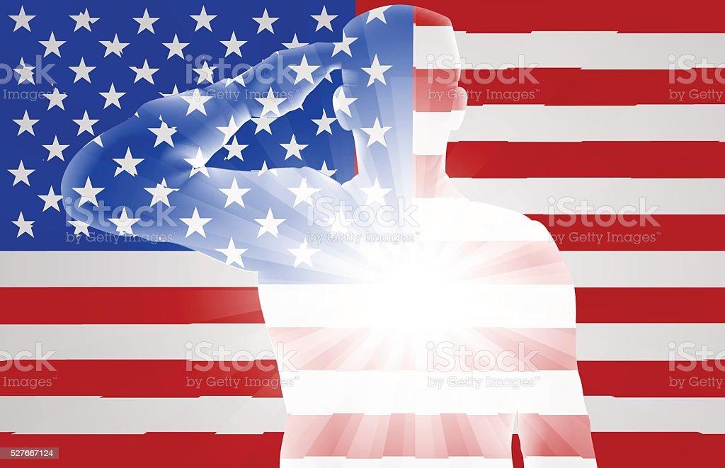 Veterans Day Soldier Saluting vector art illustration