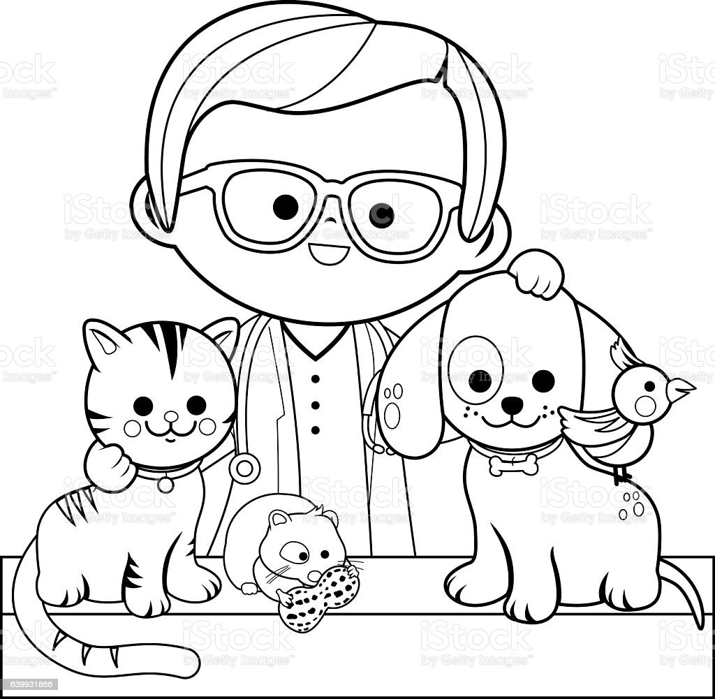 veterinarian and pets coloring book page stock vector art
