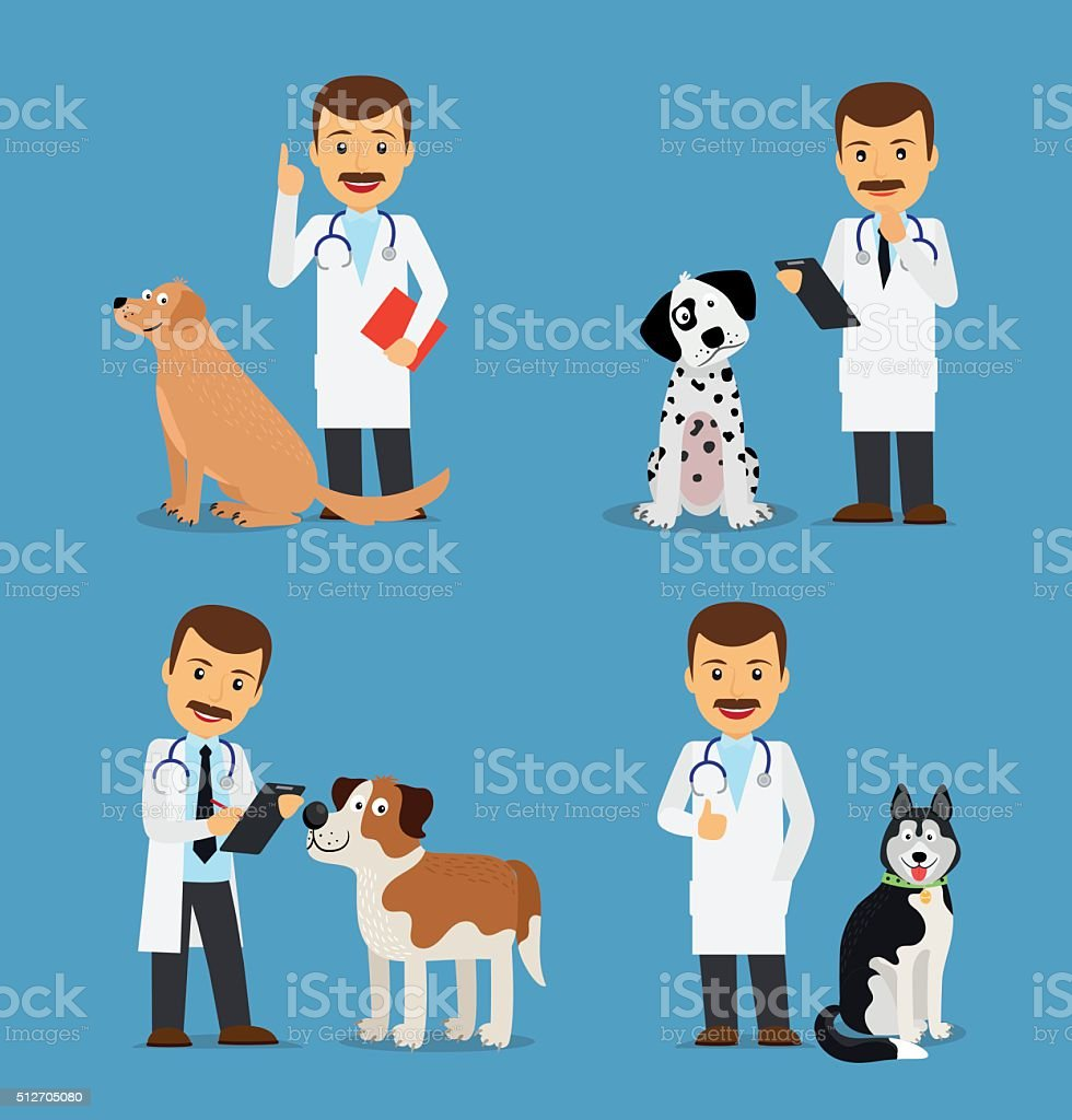 Veterinarian doctor with dogs vector art illustration