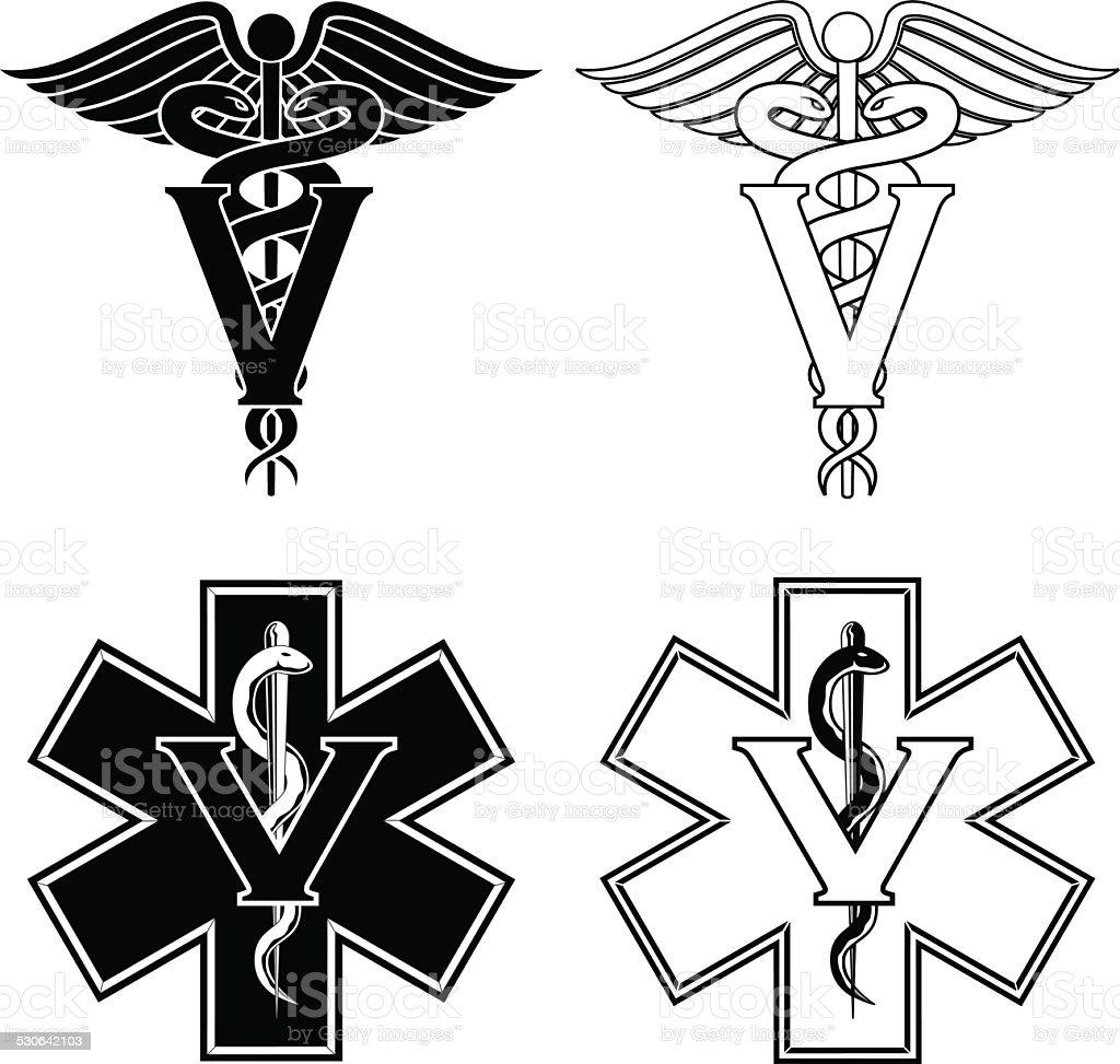 Veterinarian Medical Symbols vector art illustration