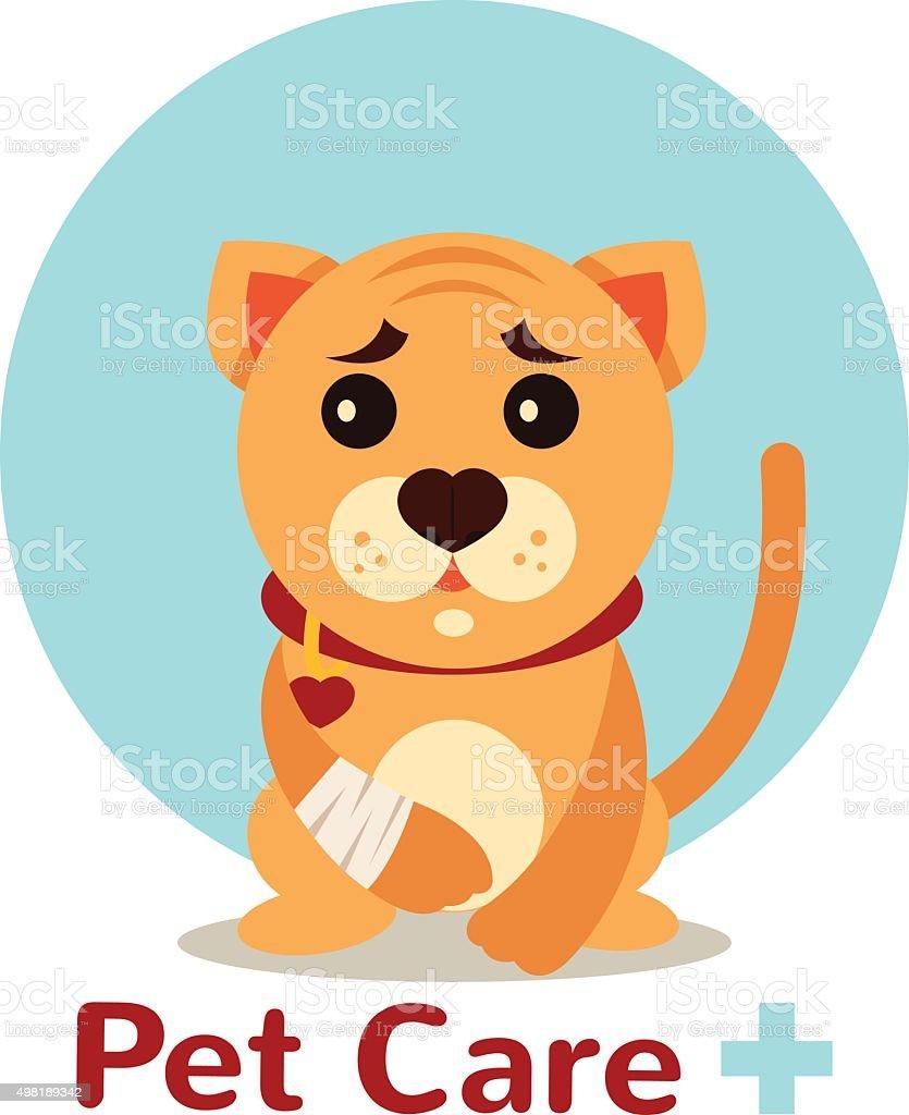 Veterinarian pet vector flat logo illustration vector art illustration