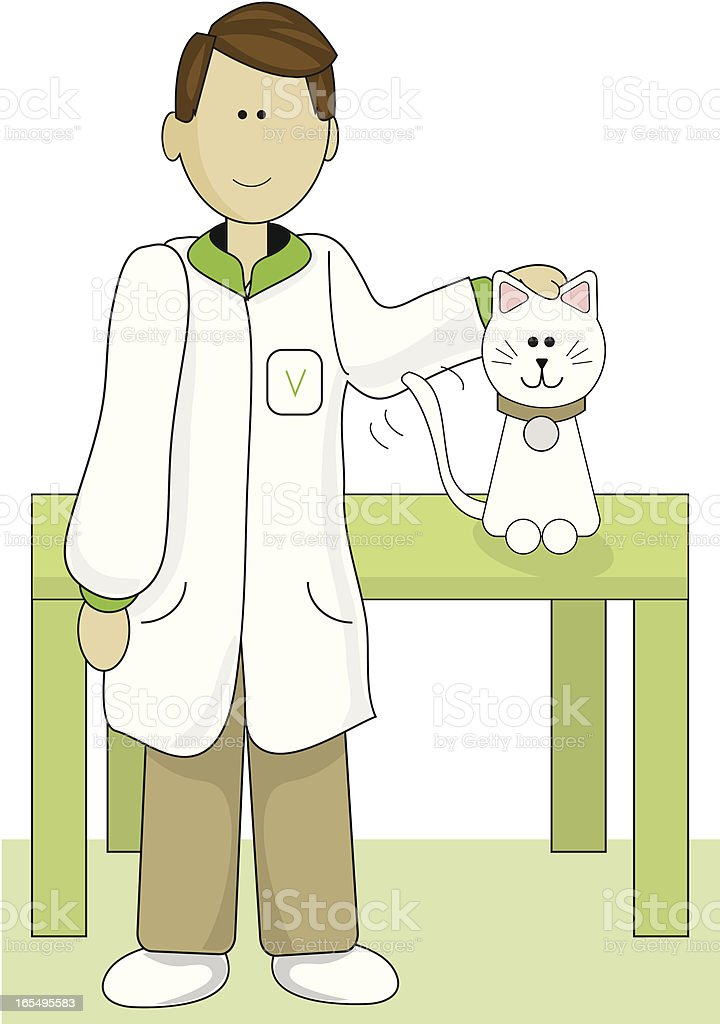 Veterinarian with Cat royalty-free stock vector art