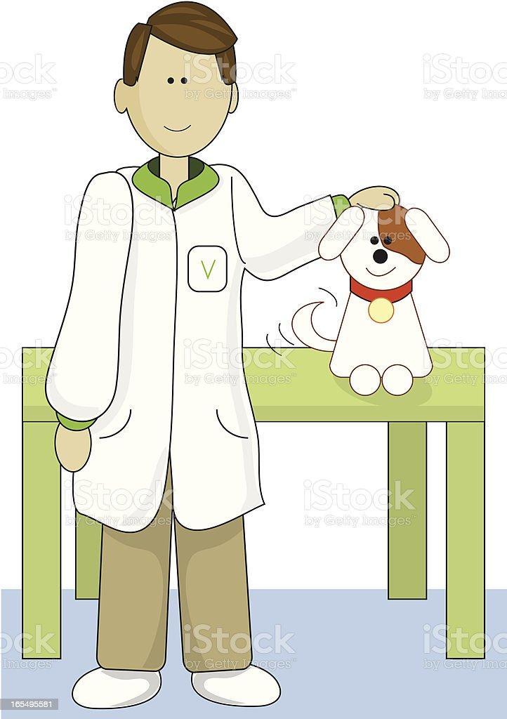 Veterinarian with Dog vector art illustration