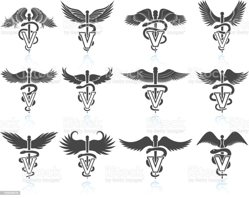 Veterinary Caduceus black & white royalty free vector icon set vector art illustration