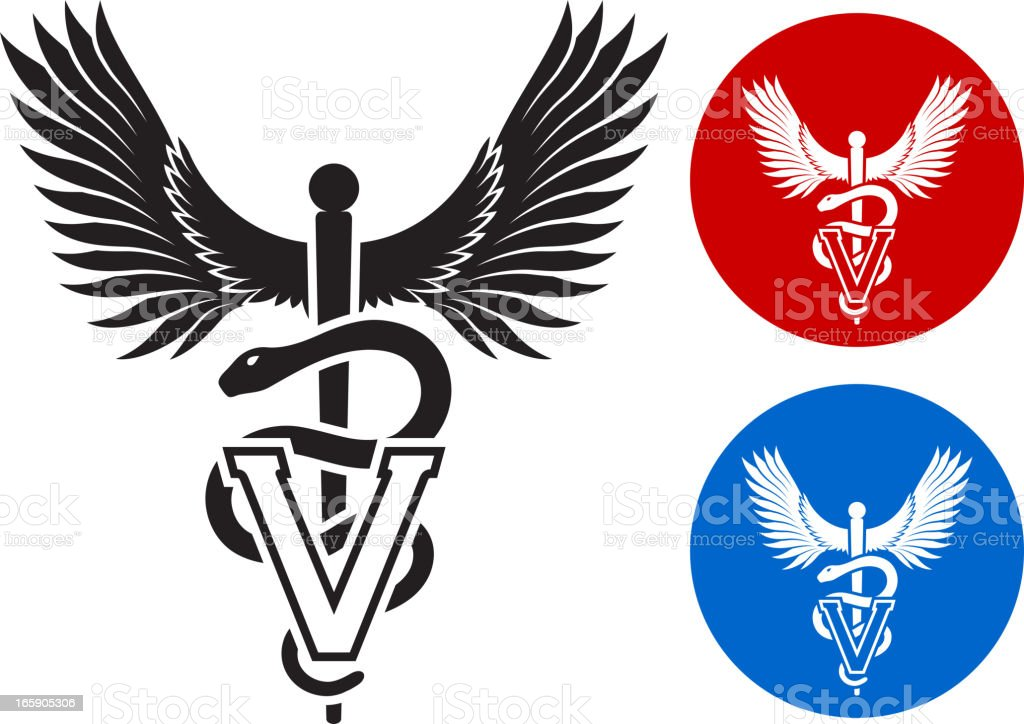 Veterinary Caduceus black & white with color set royalty-free stock vector art