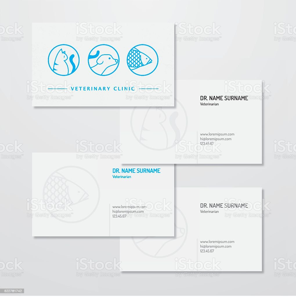 Veterinary clinic logo and business card design vector art illustration