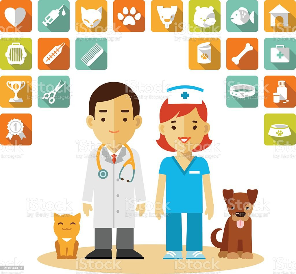 Veterinary doctor and icons set vector art illustration