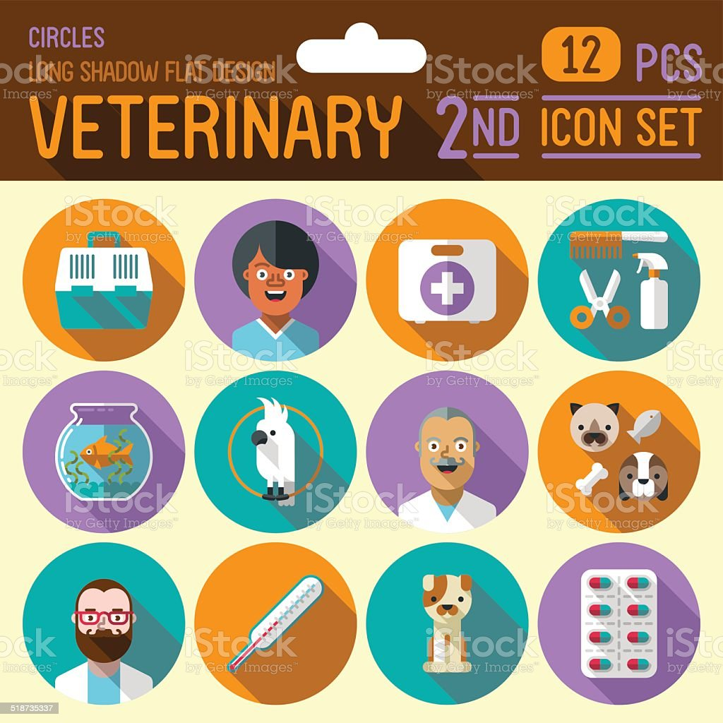 Veterinary flat long shadow design circle 2nd icon set. Vector. vector art illustration