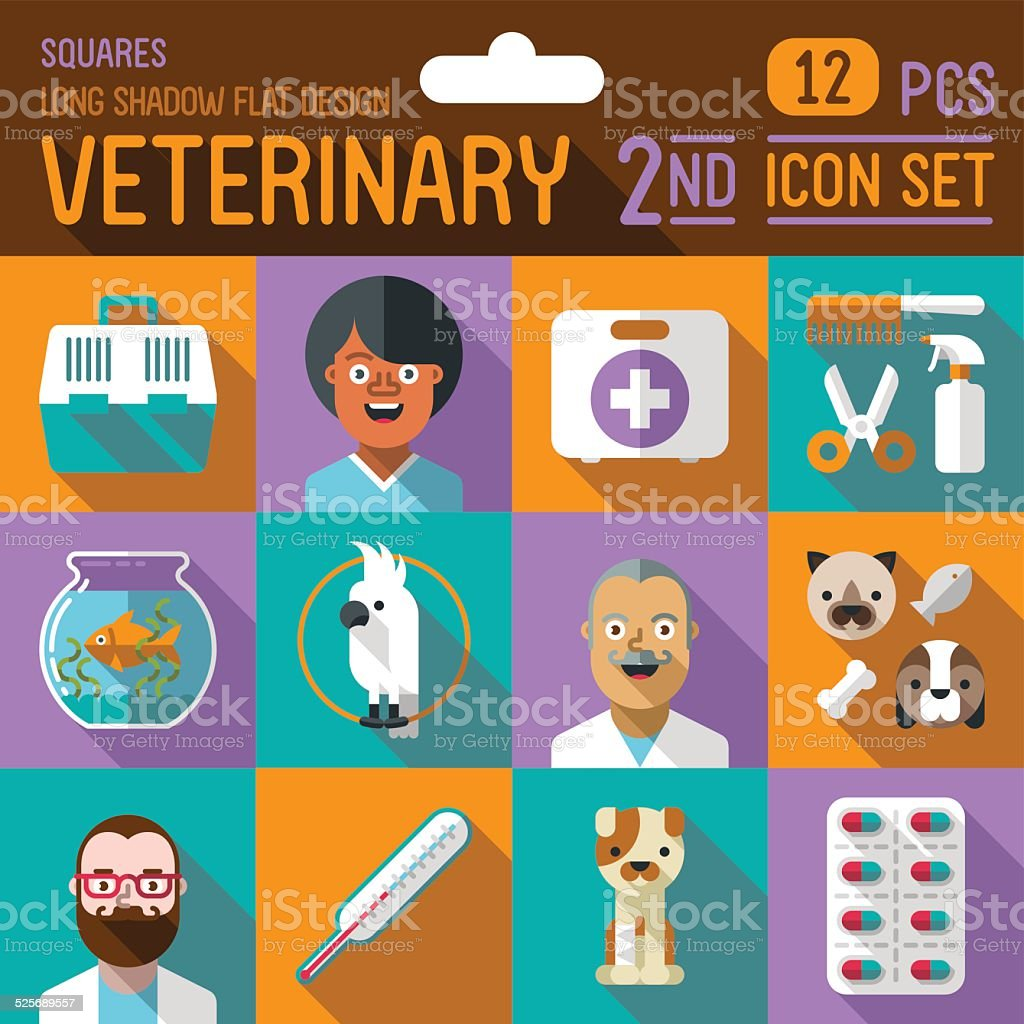 Veterinary flat long shadow design square 2nd icon set. Vector. vector art illustration