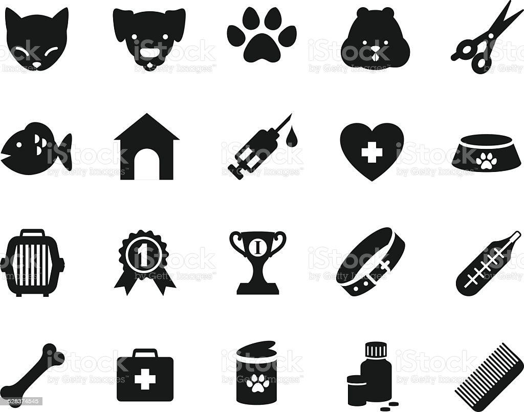 Veterinary icons set vector art illustration