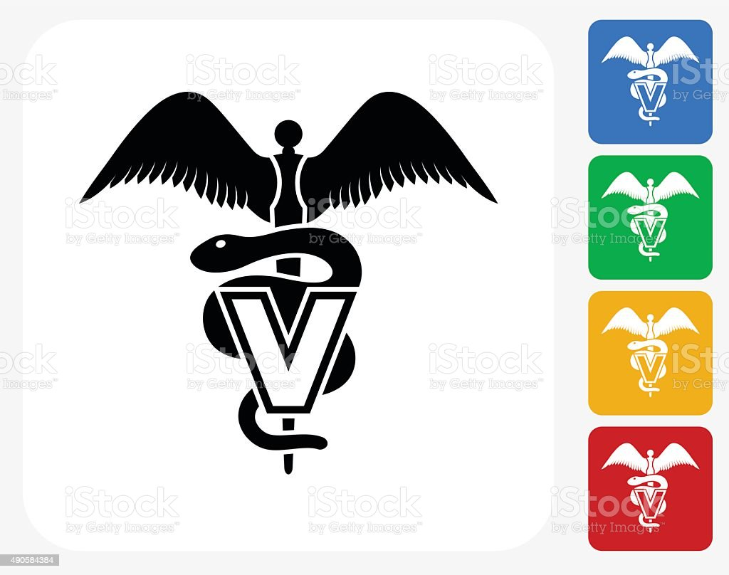 Veterinary Sign Icon Flat Graphic Design vector art illustration