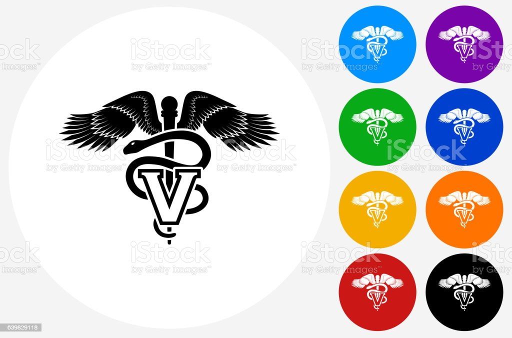 Veterinary Sign Icon on Flat Color Circle Buttons vector art illustration
