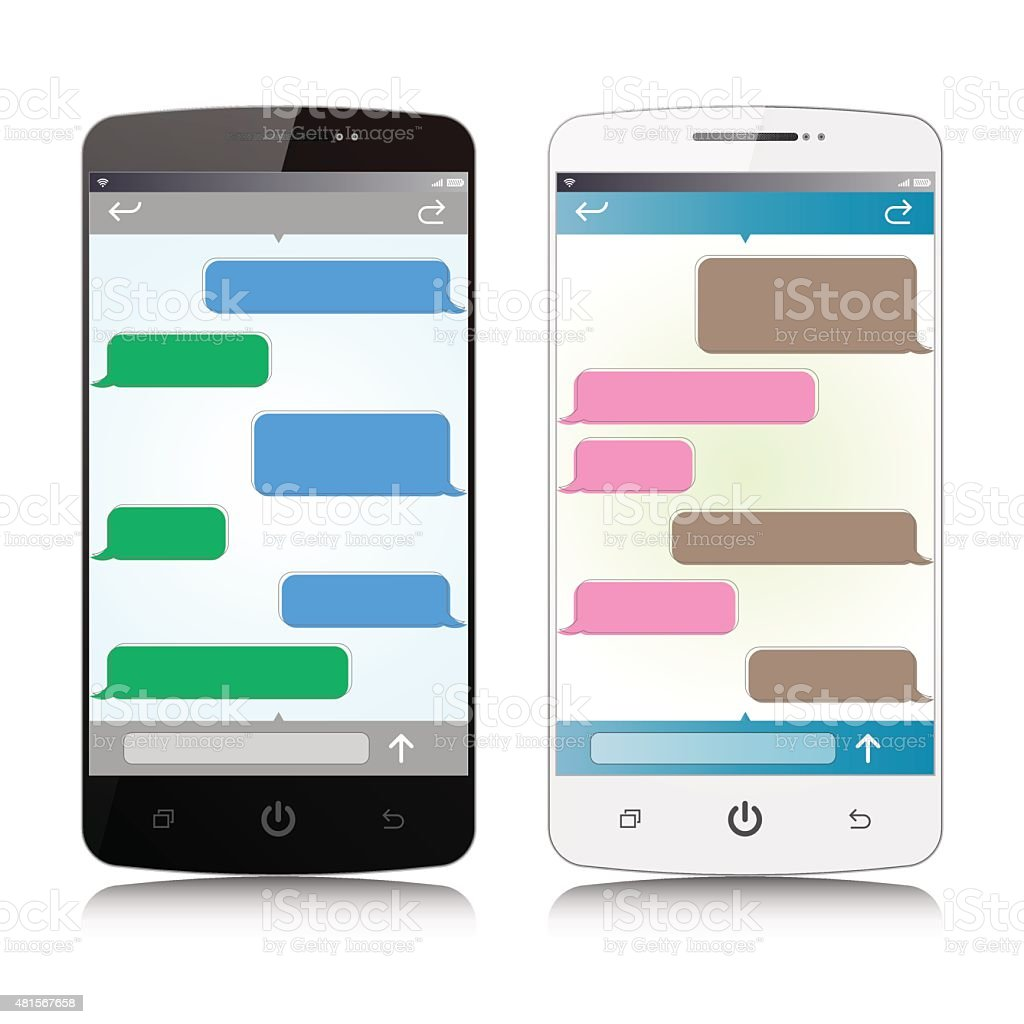 Vetor Smart  Phone with sms chat bubbles template isolated vector art illustration