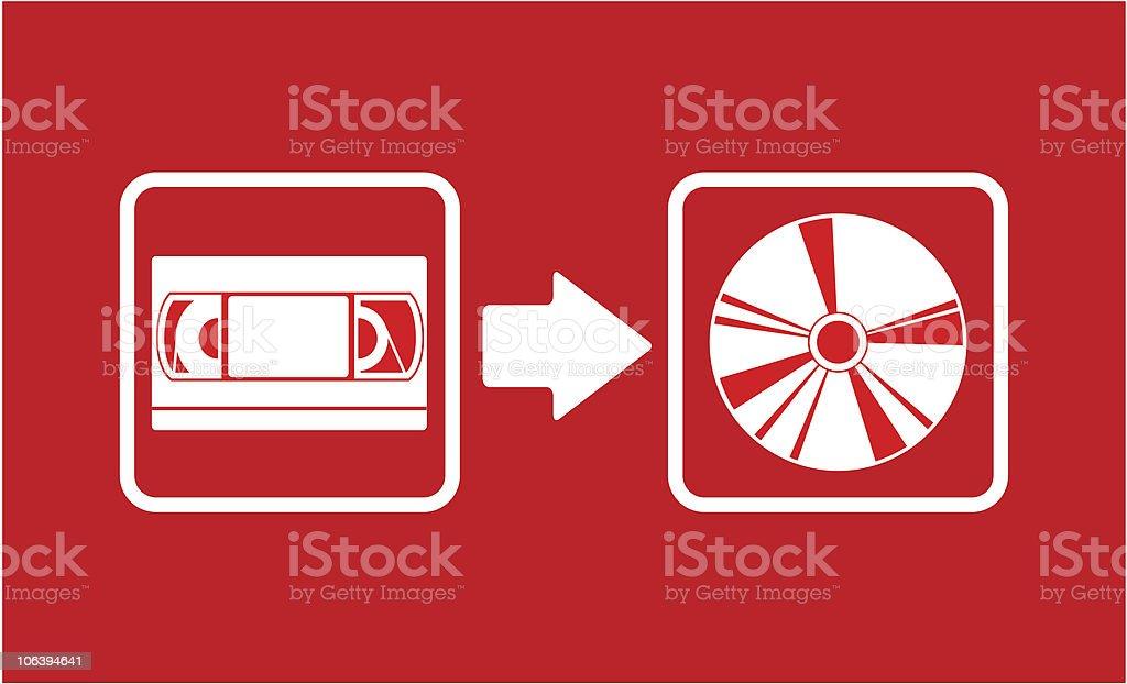 Vhs to cd transfer vector art illustration