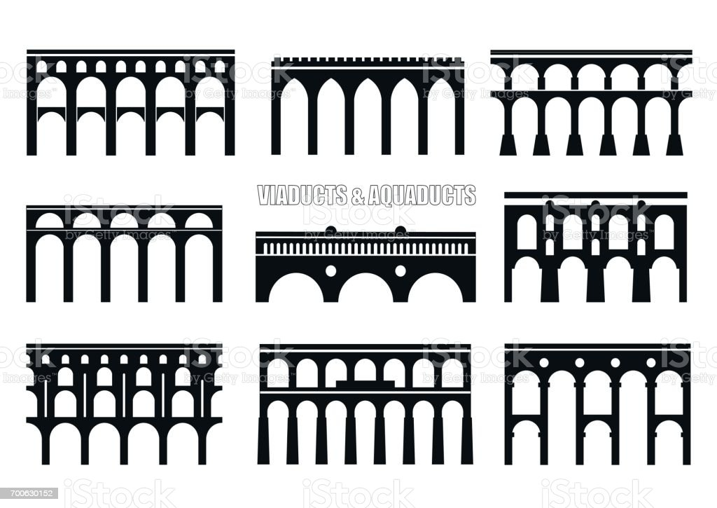 Viaducts, aqueducts, rail and multilevel arched bridges. vector art illustration