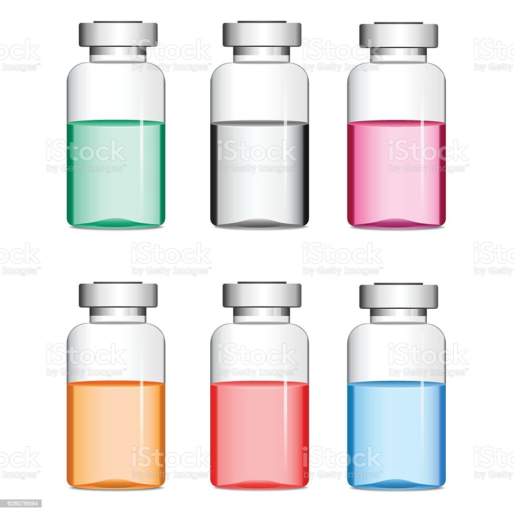 Vials with medicine vector art illustration