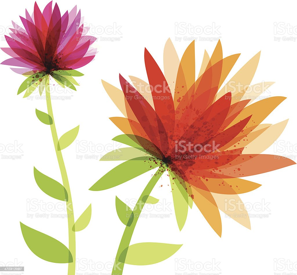 Vibrant Abstract Flowers vector art illustration