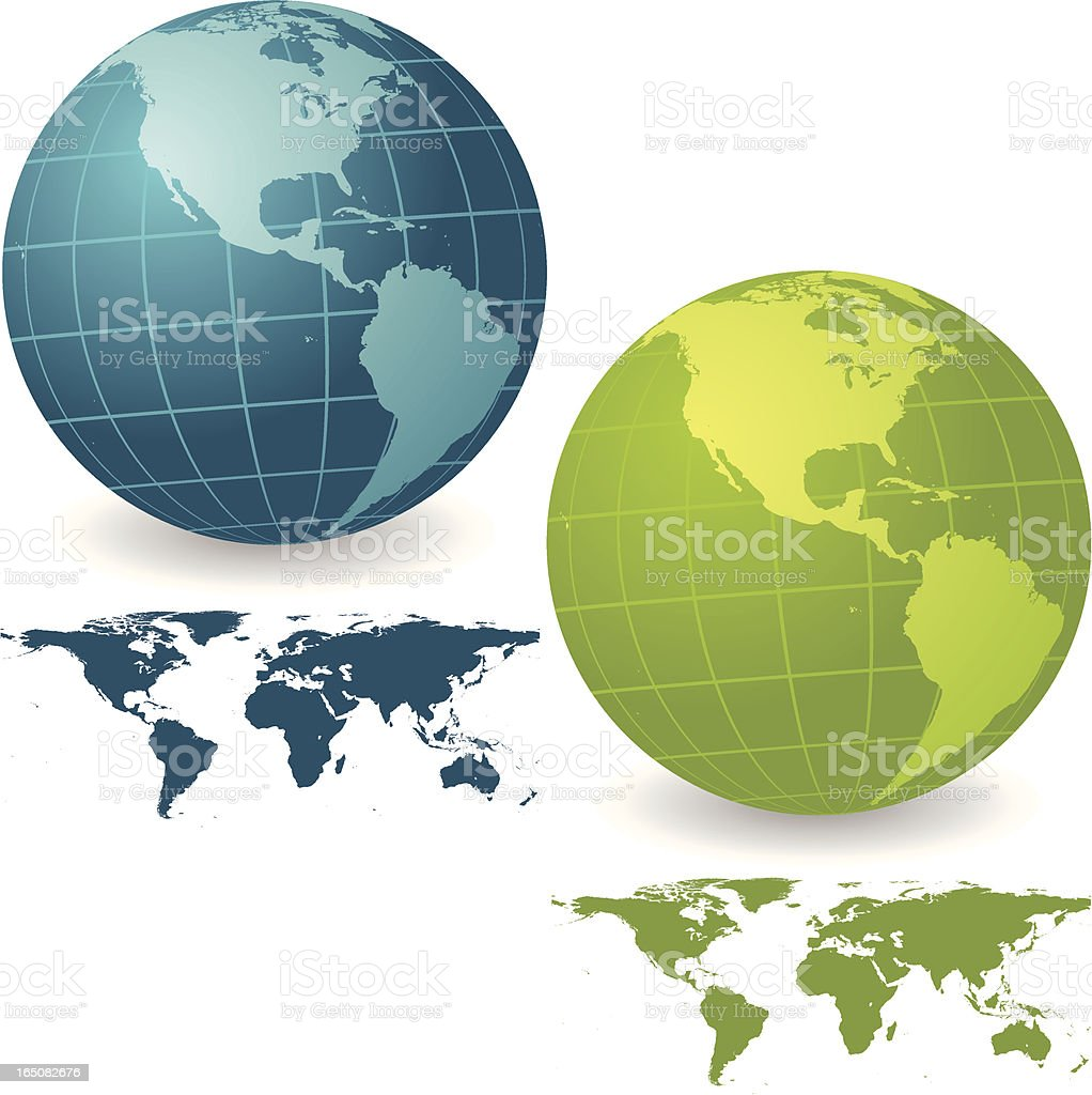 Vibrant Americas Globe Set with Map royalty-free stock vector art