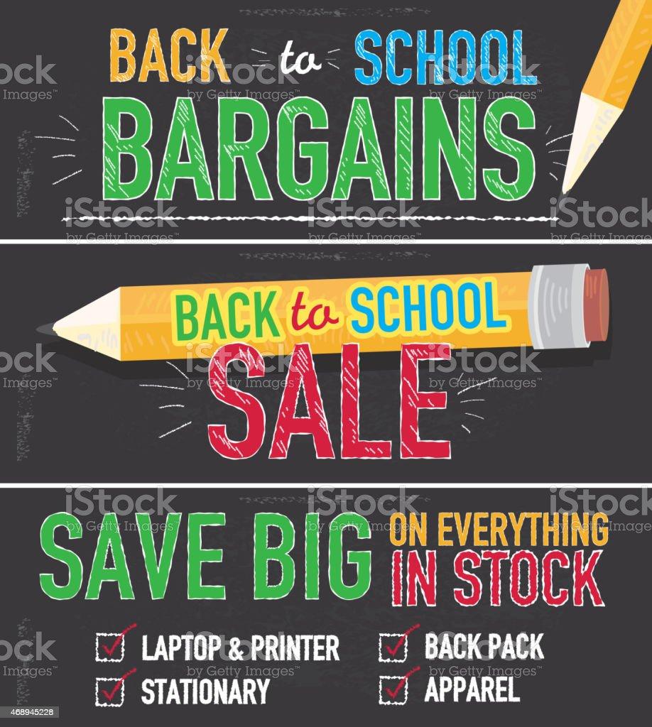 Vibrant Back to school sale chalkboard design set of banners vector art illustration