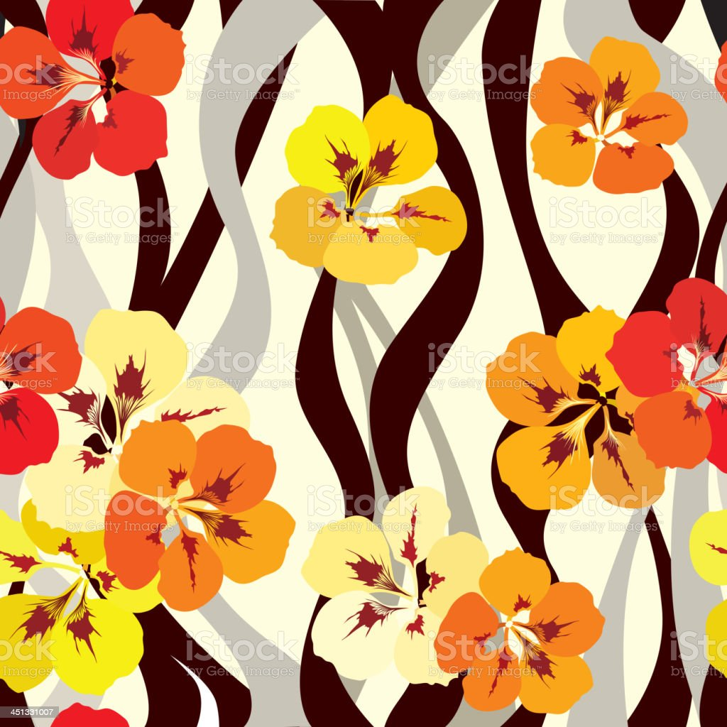 Vibrant flower seamless pattern in vintage style. royalty-free stock vector art