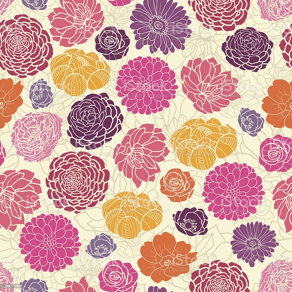 Vibrant Flowers Seamless Pattern Background royalty-free stock vector art