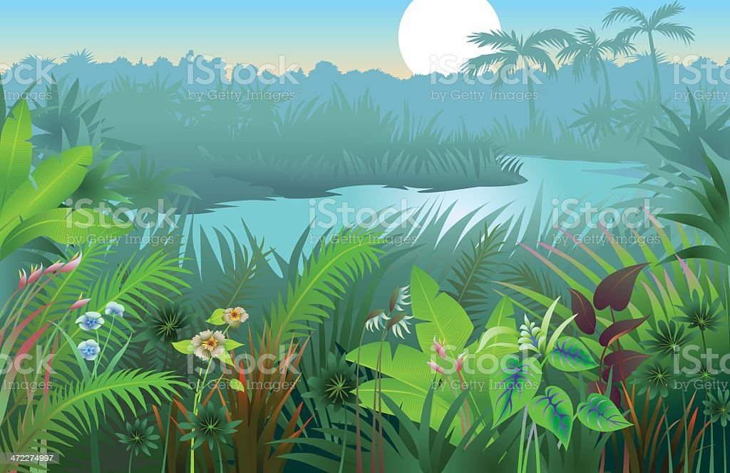 A vibrant image of a jungle landscape background vector art illustration