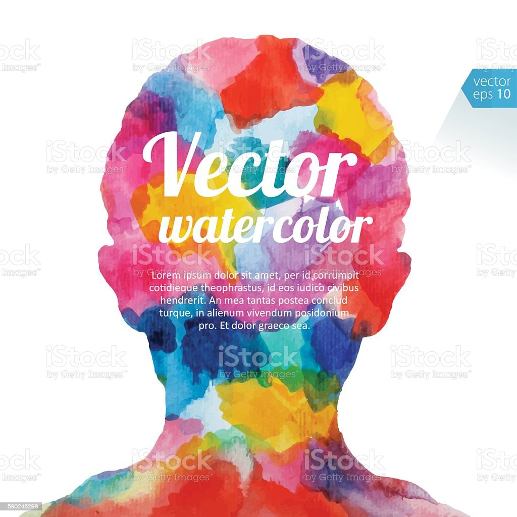 Vibrant Watercolor Child  Head vector art illustration