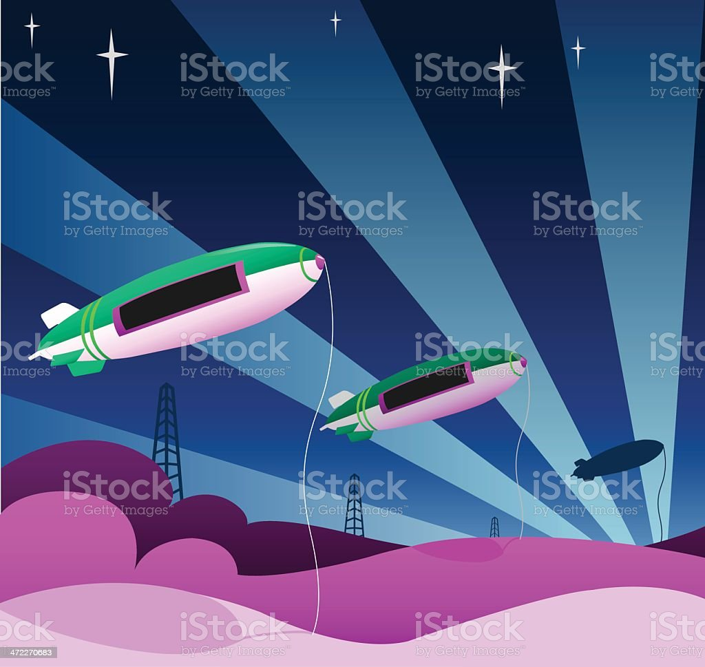 Vibrantly Colored Blimps royalty-free stock vector art