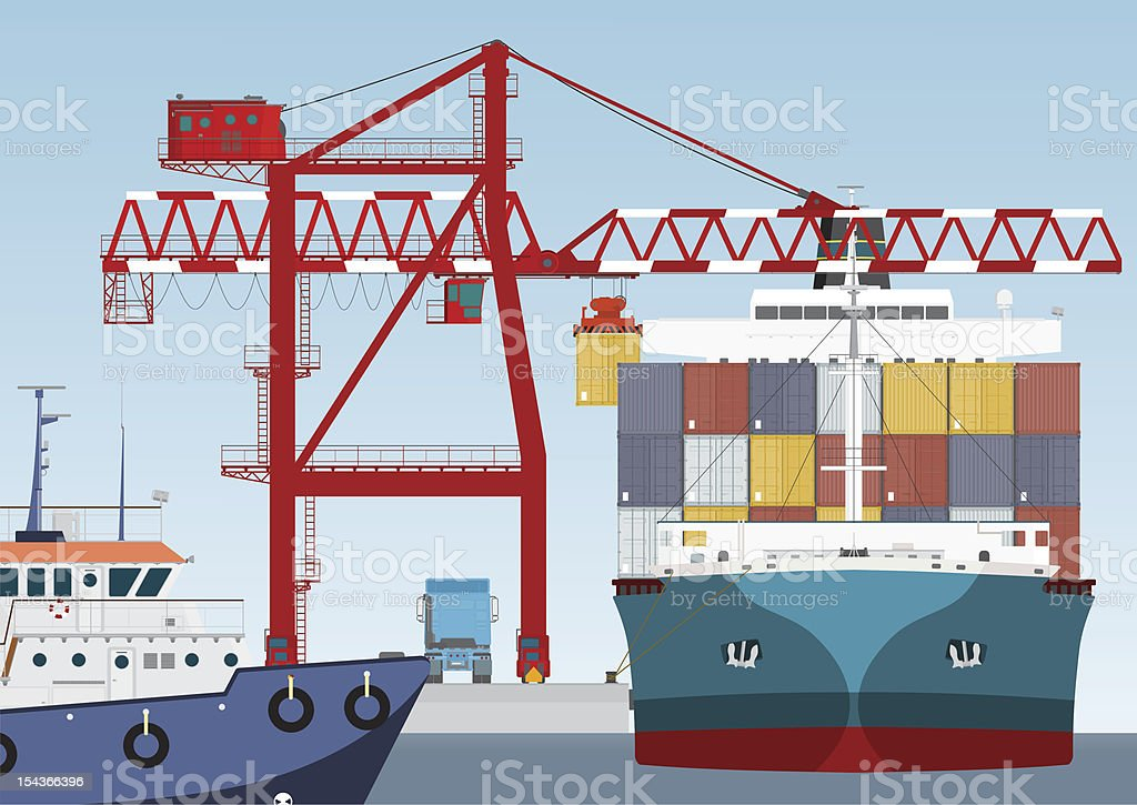 Victor illustration of a container ship arriving at a port vector art illustration