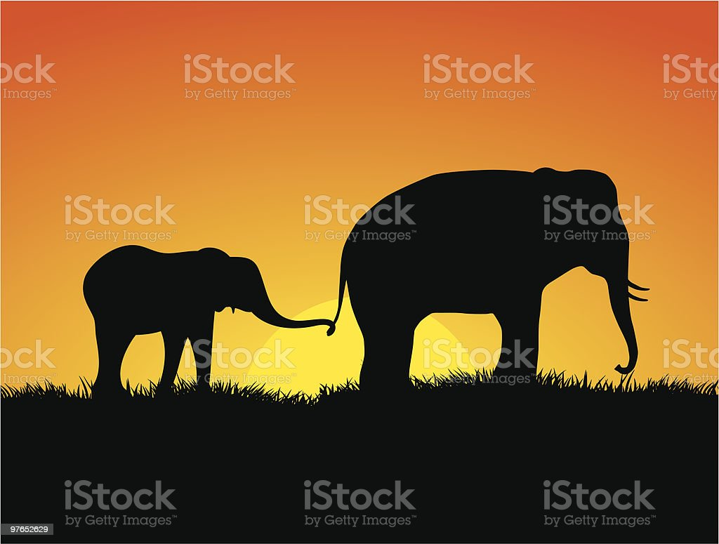 Victor illustration of elephants silhouetted against the sun royalty-free stock vector art