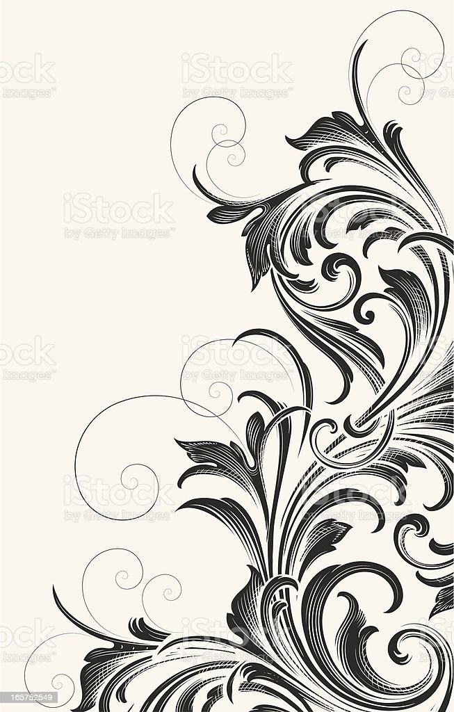 Victorian Acanthus Corner vector art illustration