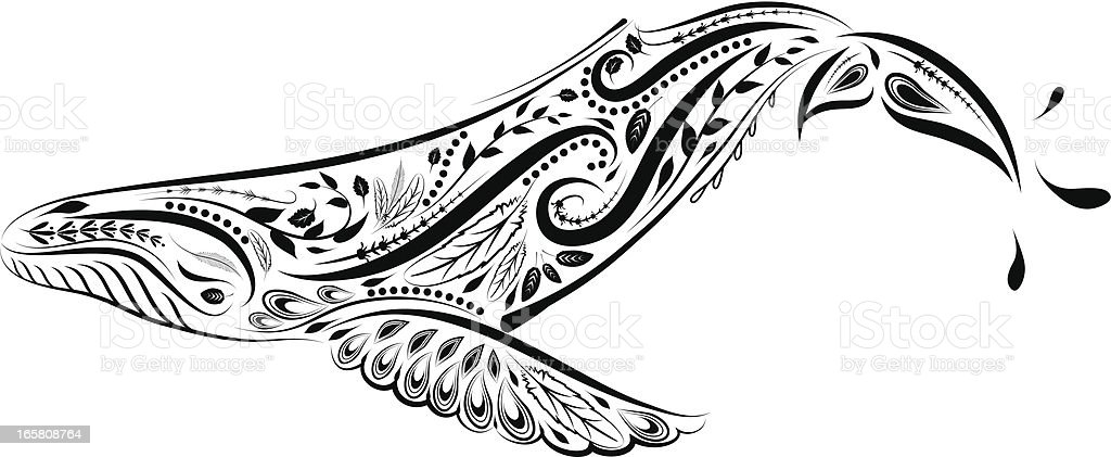 Victorian Calligraphy Style Whale Ornament royalty-free stock vector art